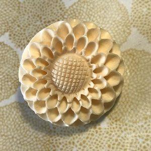 Vintage Carved Flower Brooch
